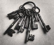 Set of antique keys (b&w) Stock Photos