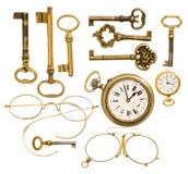 Set of antique keys, clock, glasses Royalty Free Stock Photos