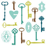 Set of Antique Keys and Locks Royalty Free Stock Photo