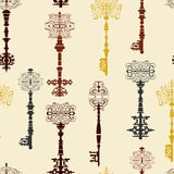Set of antique keys seamless pattern. Royalty Free Stock Photo