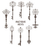 Set of antique keys. Vintage vector collection. Stock Photo