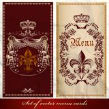 Set of antique menu designs luxury style Royalty Free Stock Photography