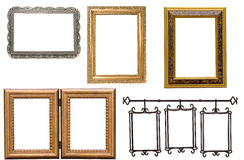 Set of antique metal and wooden picture frame. Isolated on white Royalty Free Stock Photo
