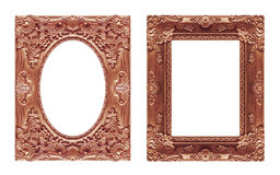 Set 2 - Antique picture red brown frame isolated on white backgr Royalty Free Stock Photography