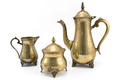 Set of antique silver teapots Royalty Free Stock Image