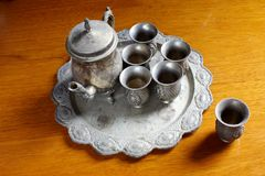 Set of antique silver teapots Stock Images