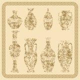 Set of antique vases vintage Stock Photo