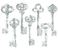 Set of Antique Vintage Keys in grunge style.  Royalty Free Stock Images