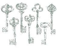 Set of Antique Vintage Keys in grunge style.  Royalty Free Stock Images