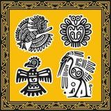 Set antyczni amerykańsko-indiański wzory. Ptaki Zdjęcia Stock