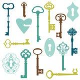 Set antyków kędziorki i klucze royalty ilustracja