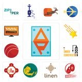 Set of ap, 60th anniversary, linen, welder, fire station, under construction, cricket ball, shooting stars, 100 guarantee icons. Set Of 13 simple editable icons Royalty Free Stock Photography