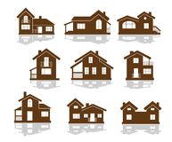 Set of apartment house icons. In brown and white showing different styles of building in silhouette Royalty Free Illustration
