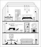 Set of apartment interiors with furniture icons, black and white. Detailed interior with living room, bedroom, and hall in loft flat style, front view. Vector Stock Photos