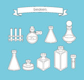 Set of  apothecary and medical beakers, laboratory flasks Stock Photography