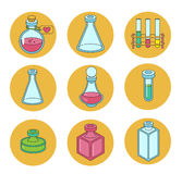 Set of apothecary and medical beakers, laboratory flasks Royalty Free Stock Image