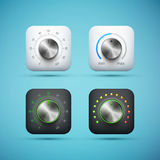 Set of app icon with music volume control knob royalty free illustration