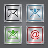 Set app icons, metallic email, envelope buttons. Royalty Free Stock Photography