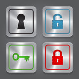 Set app icons, metallic lock buttons collection. Stock Photos
