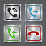 Set app icons, metallic phone buttons. Stock Photos