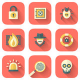 Set of App Security Icons. Set of Application Security Icons to a Limited Color Palette in Flat Style with Long Shadows Royalty Free Stock Photography