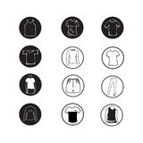 Set of Apparel shirt and T-shirt Icon Clothing icons Royalty Free Stock Photos