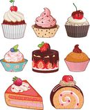 Set of appetizing cakes. With different berries and stuffings Royalty Free Stock Photos