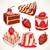Set with appetizing desserts Royalty Free Stock Image