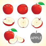 Set of apple fruit in various styles vector format. Set of apples fruit, apple with leave in vector and various styles for your design Royalty Free Stock Images