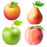 Set from apple, pear, apricot, peach isolated on white backgroun Stock Photography