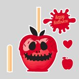 Apple with red caramel Sweet candy on sticks. Happy Halloween dessert. Vector illustration on gray background. Set Apple with red caramel Sweet candy on sticks Vector Illustration