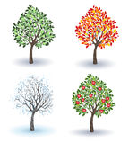 Set of apple trees Stock Photography