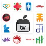 Set of apple tv, continuous improvement, oracle, save the rhino, gym with purple, dth, 111, eee, domestic violence icons. Set Of 13 simple editable icons such as Royalty Free Stock Photography