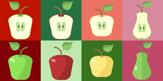 Set of apples of different varieties and apple slices   Stock Image