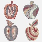 Set of 4 apples in doodles. Pastel tone. Stock Photos