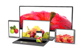 Set of apples on the screen of computer gadgets 3d illustration Royalty Free Stock Photo