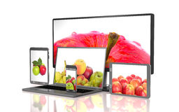 Set of apples on the screen of computer gadgets 3d illustration Royalty Free Stock Images
