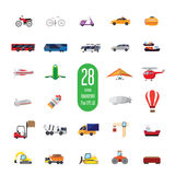 Set appliances icons. Set of icons of transport equipment. It consists of twenty-eight different objects. air, space, road, rail and marine modes of Stock Images