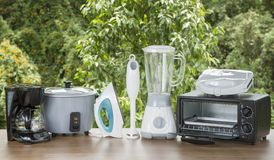 Kitchen Appliances on a natural background stock images