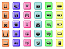 Set of application and communication icon buttons background. Set of application and communication colored icon button background Royalty Free Stock Images