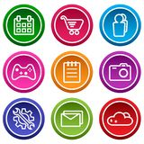 Set of application icon, menu icons. Colorful buttons. Vector illustration stock illustration