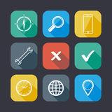 Set of application web icons. Flat design with long shadows Stock Image