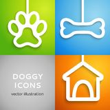 Set of applique doggy icons. Vector illustration. For happy canine design. Doghouse, bone and animal footprint cut out white paper.  on colorful background Stock Photography