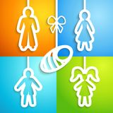 Set of applique family icons. Vector illustration Royalty Free Stock Photography