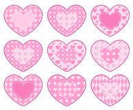 Set of applique hearts. Isolated on white Stock Photography