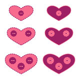 Set of Applique Hearts Stock Images