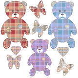 Set of applique teddy bears, hearts and butterflies Stock Photography