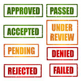 Set of approval grunge rubber stamps Stock Photography