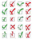 Set of approved and rejected check marks Stock Photography