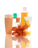Set of apricot cosmetic containers Stock Photos